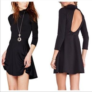 Free People Black Fit Flare Skater Dress L